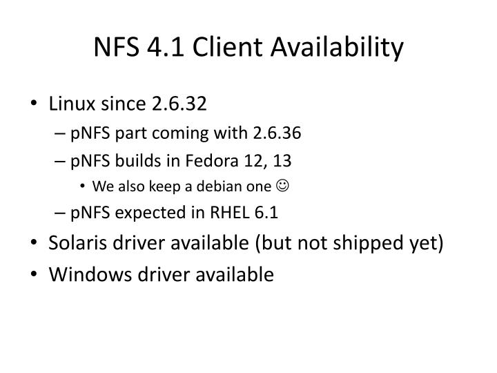 NFS 4.1 Client Availability