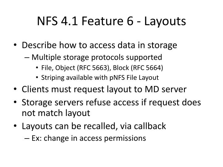 NFS 4.1 Feature 6 - Layouts