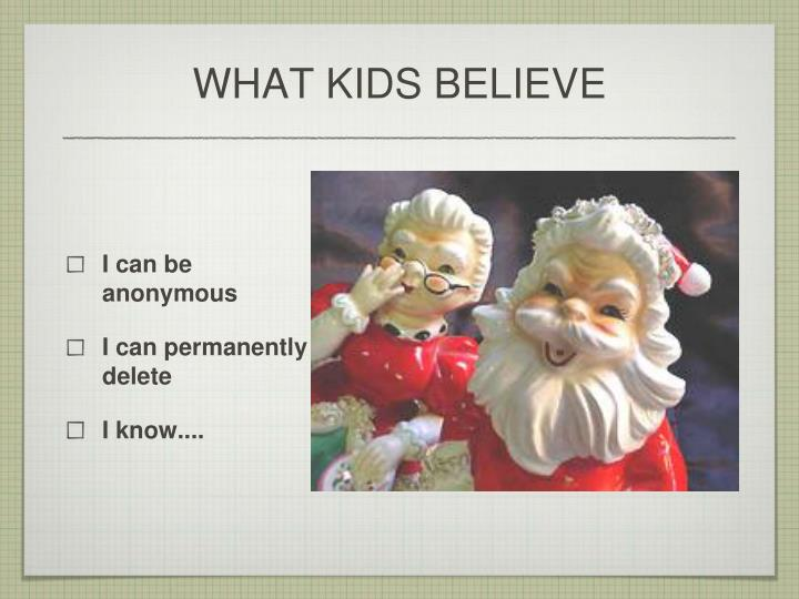 WHAT KIDS BELIEVE