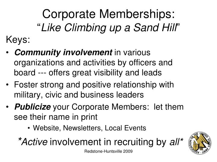 Corporate memberships like climbing up a sand hill