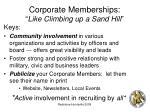 corporate memberships like climbing up a sand hill
