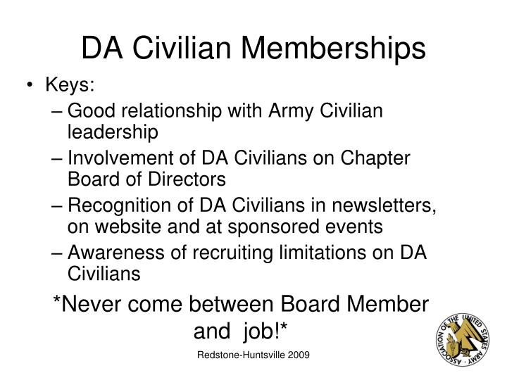 DA Civilian Memberships