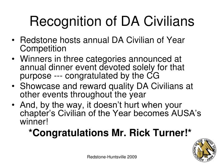 Recognition of DA Civilians