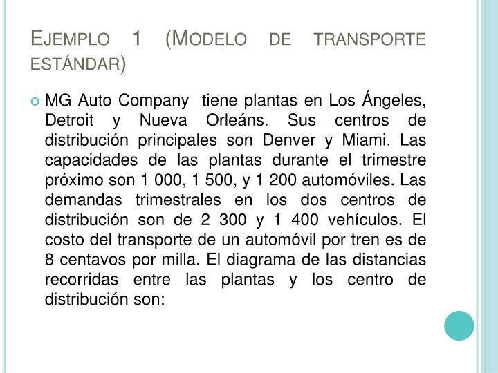 Ejemplo 1 (Modelo de transporte estándar)