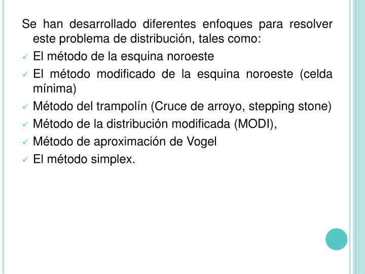 Se han desarrollado diferentes enfoques para resolver este problema de distribución, tales como: