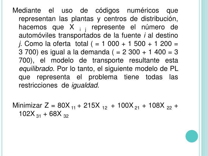 Mediante el uso de códigos numéricos que representan las plantas y centros de distribución, hacemos que X