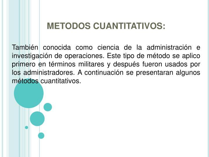 METODOS CUANTITATIVOS: