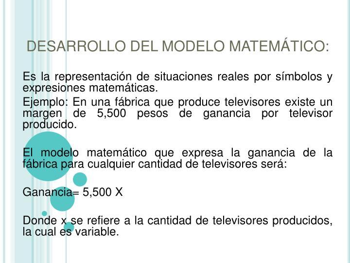 DESARROLLO DEL MODELO MATEMÁTICO: