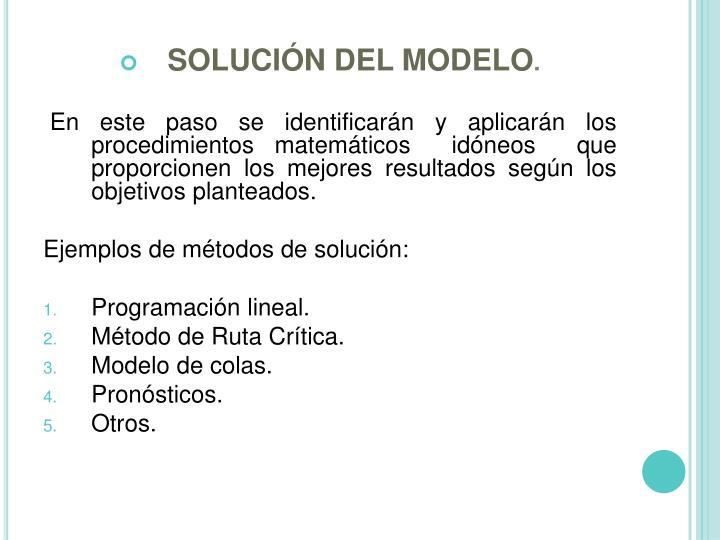 SOLUCIÓN DEL MODELO