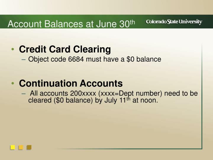 Account Balances at June 30