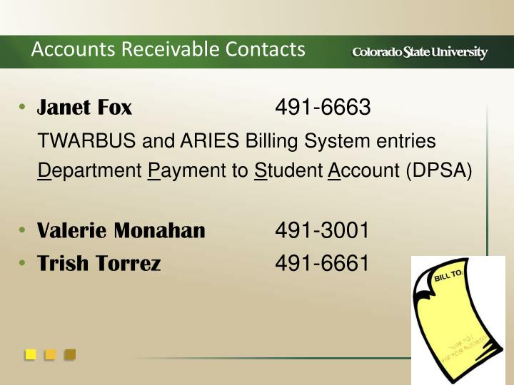 Accounts Receivable Contacts