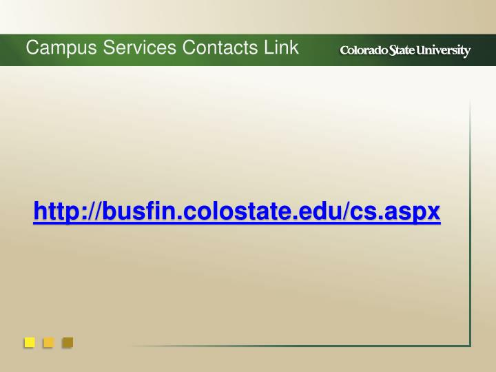 Campus Services Contacts Link