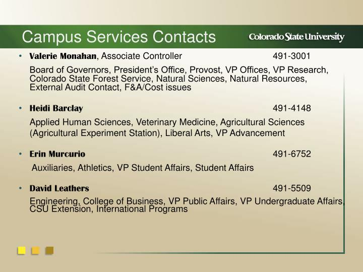 Campus Services Contacts