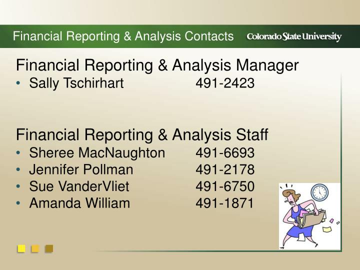 Financial Reporting & Analysis Contacts