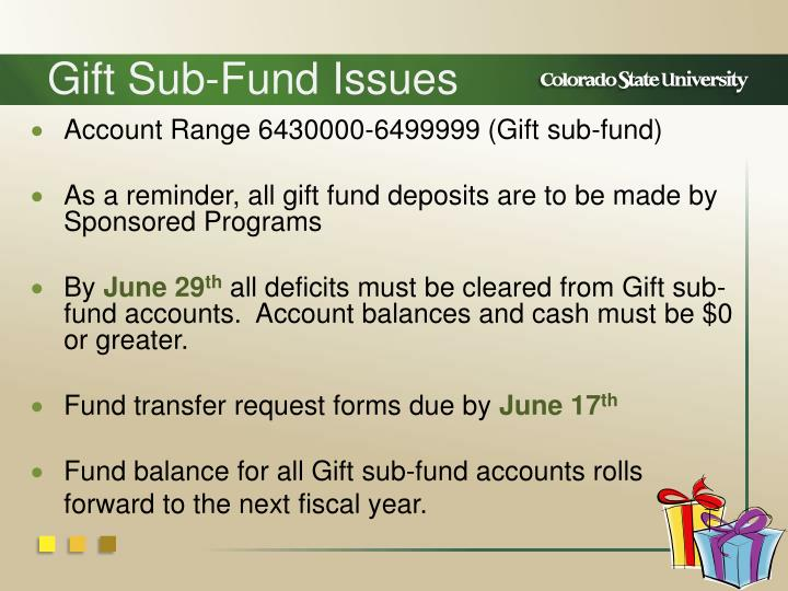 Gift Sub-Fund Issues
