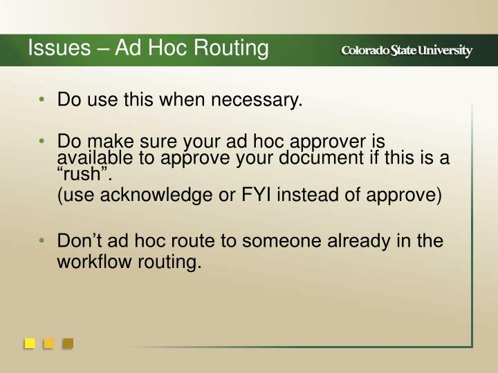 Issues – Ad Hoc Routing
