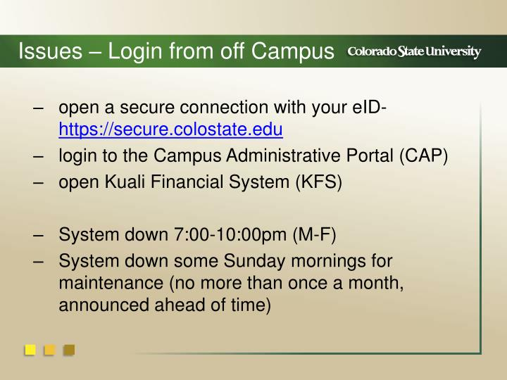 Issues – Login from off Campus