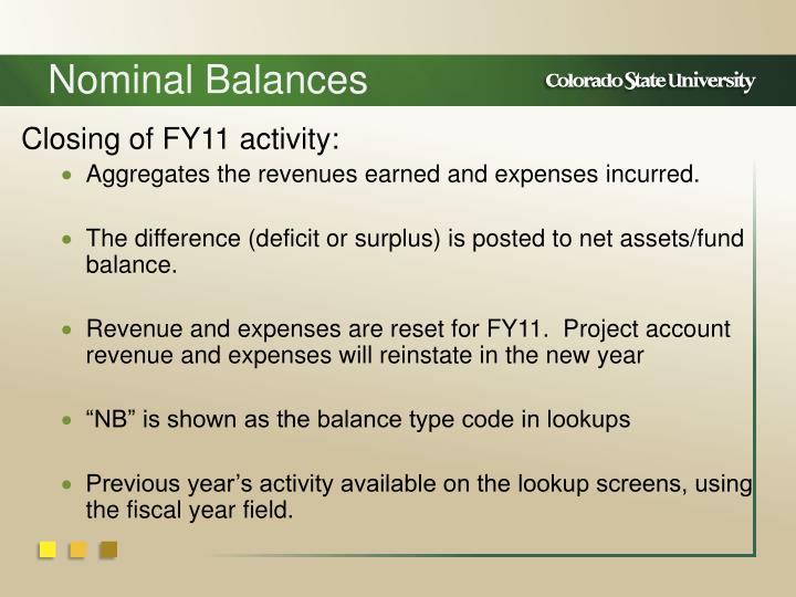 Nominal Balances