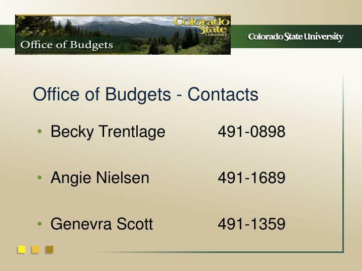 Office of Budgets - Contacts