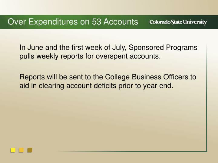Over Expenditures on 53 Accounts