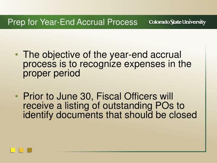 Prep for Year-End Accrual Process
