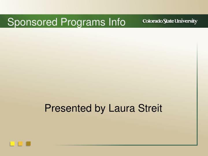 Sponsored Programs Info