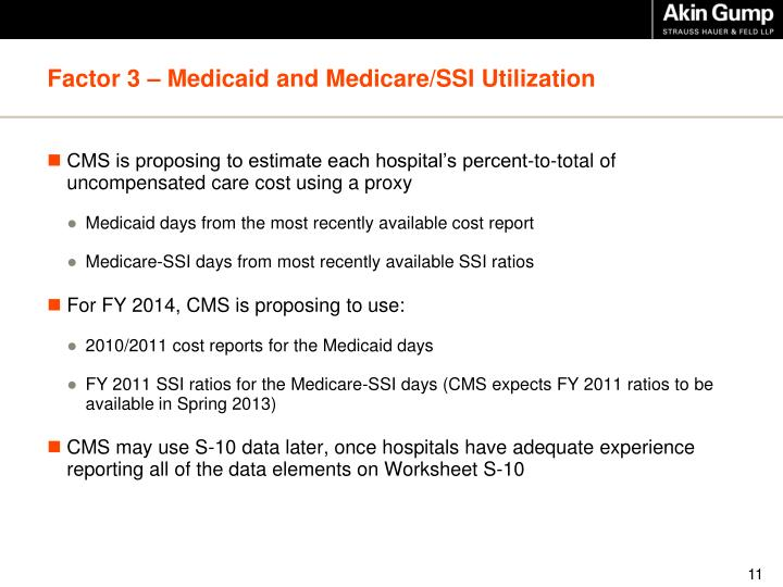 Factor 3 – Medicaid and Medicare/SSI Utilization