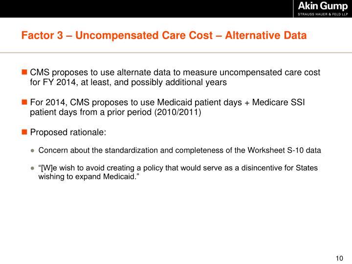 Factor 3 – Uncompensated Care Cost – Alternative Data