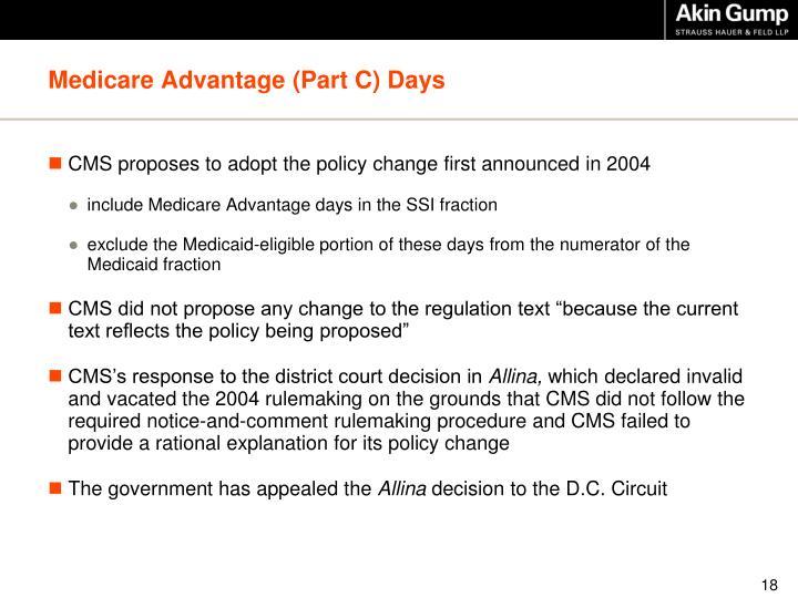 Medicare Advantage (Part C) Days