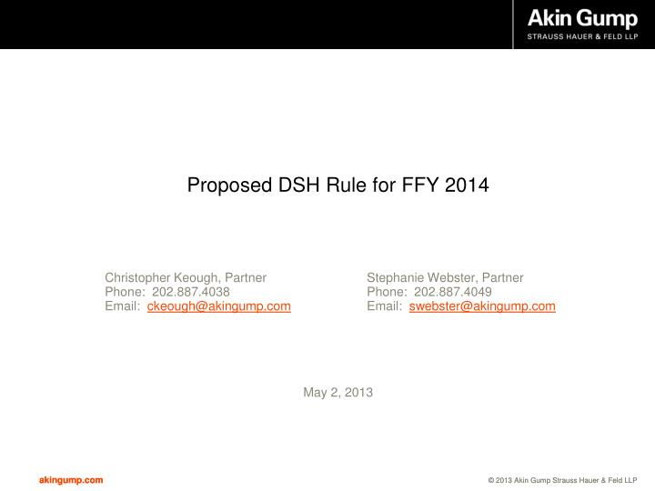 Proposed dsh rule for ffy 2014