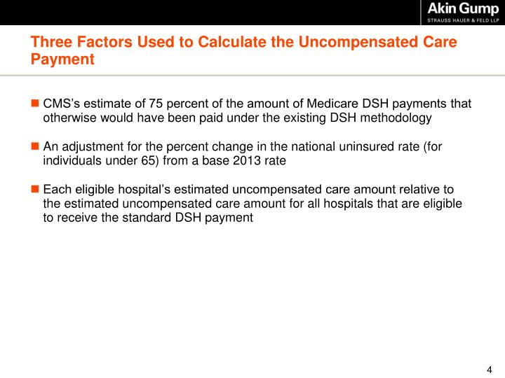 Three Factors Used to Calculate the Uncompensated Care Payment