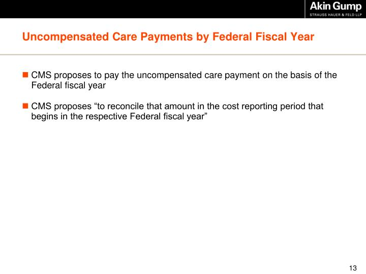 Uncompensated Care Payments by Federal Fiscal Year