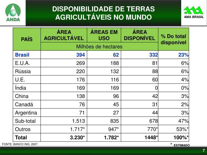 DISPONIBILIDADE DE TERRAS AGRICULTÁVEIS NO MUNDO