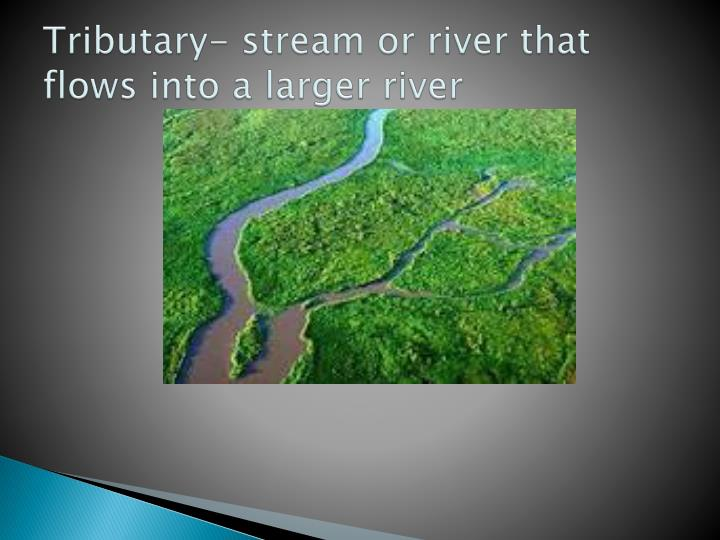 Tributary- stream or river that flows into a larger river