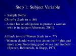 step 1 subject variable