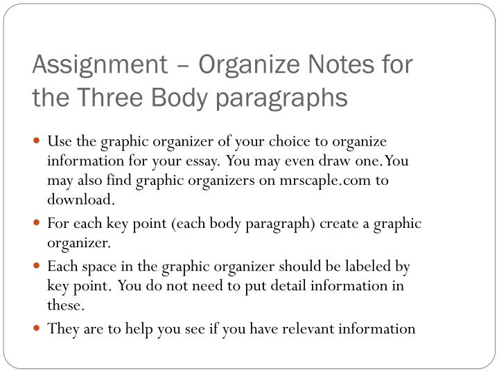 Assignment – Organize