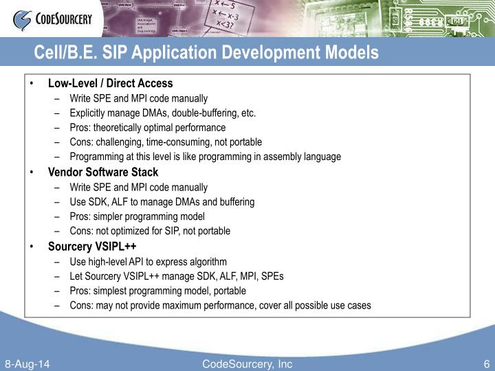 Cell/B.E. SIP Application Development Models