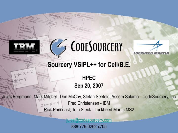 Sourcery vsipl for cell b e