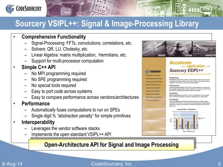 Sourcery vsipl signal image processing library