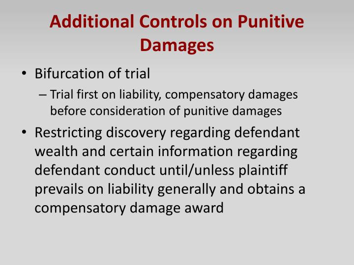 Additional Controls on Punitive Damages