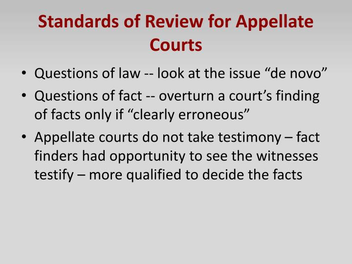 Standards of Review for Appellate Courts