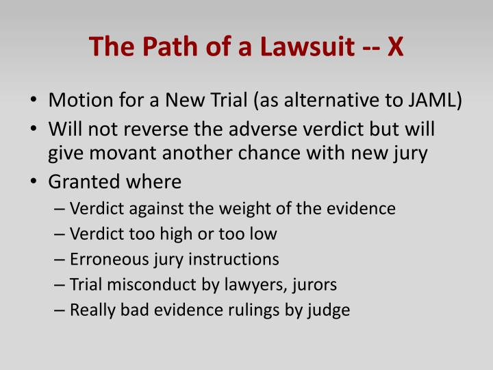 The Path of a Lawsuit -- X