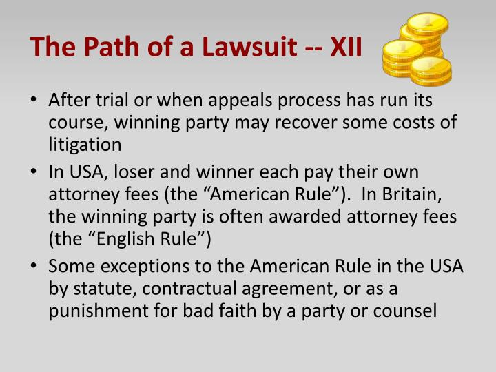 The Path of a Lawsuit -- XII