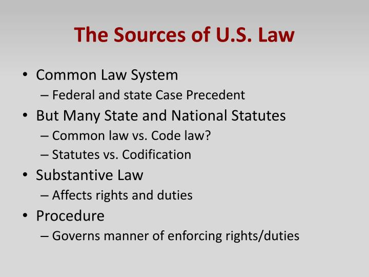 The Sources of U.S. Law