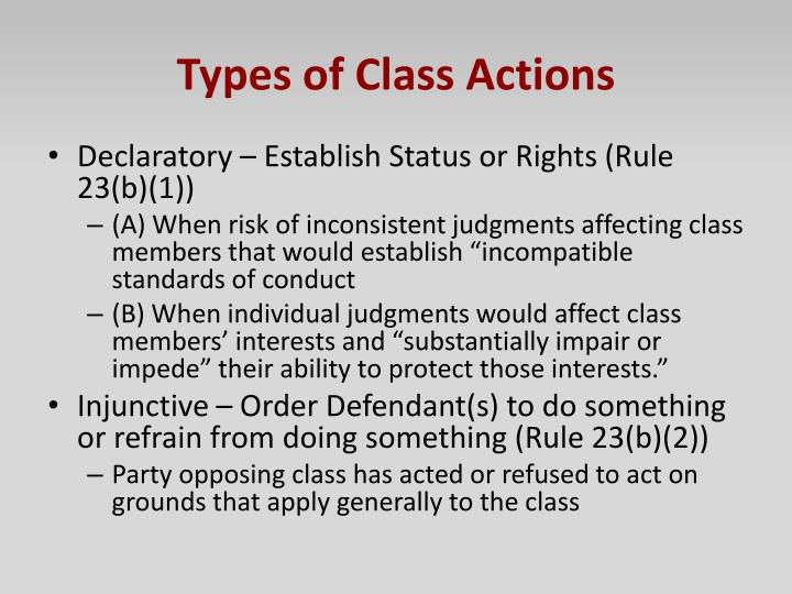 Types of Class Actions