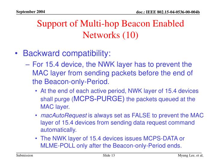 Support of Multi-hop Beacon Enabled Networks (10)