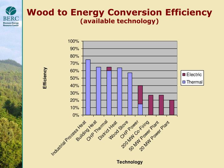 Wood to Energy Conversion Efficiency