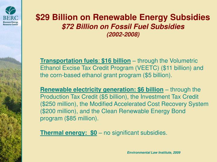 $29 Billion on Renewable Energy Subsidies