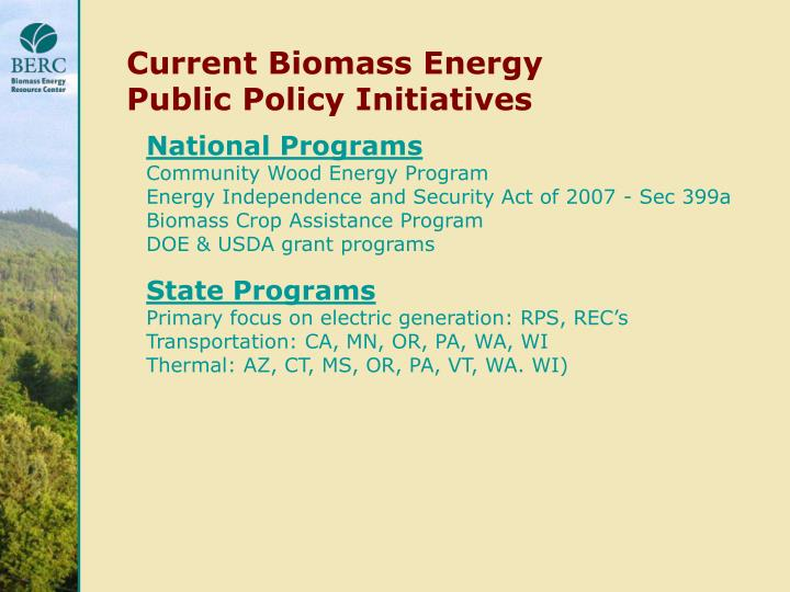 Current Biomass Energy