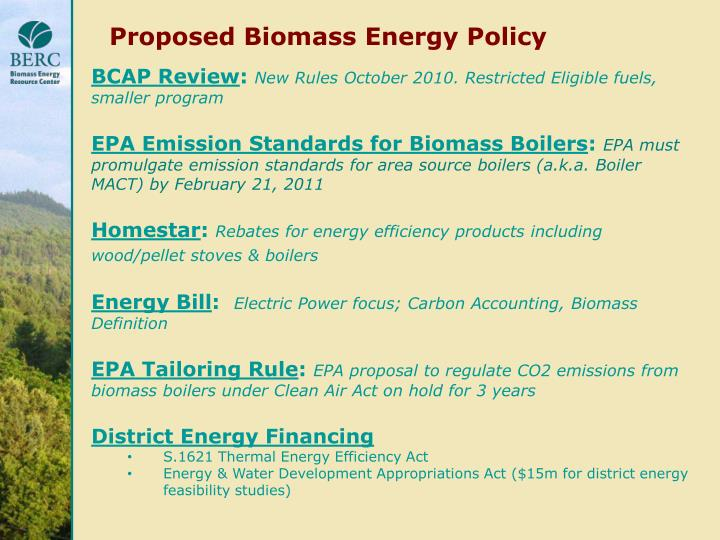 Proposed Biomass Energy Policy